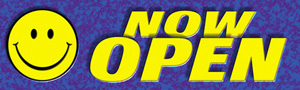 Smiley Now Open Banner